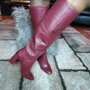 Zara Burgundy Tall Boot Womens Size US 8